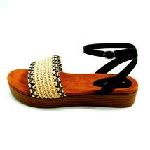Bamboo Womans Gigi 08 Woven Ankle Strap Platform Sandal Black & Tan Sz 1... - $17.80