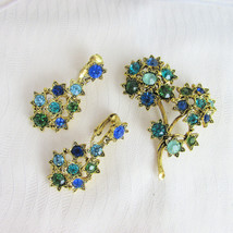 Vintage Blue & Green Rhinestones Flower Brooch Pin Clip Earrings Gold Pl... - $40.50