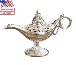 New Aladdin Magic Genie Light Oil Lamp Silver Toned Stunning Decoration - $14.80