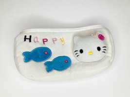 Hello Kitty Makeup Cosmetic Pencil Bag Zippered Soft White Fish Happy  - $13.85