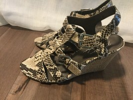 Marc Fisher Women's wedge trap dress Sandals with buckles size 8 - $17.49