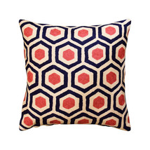 "Contemporary Honeycomb Navy Light Coral Decorative Pillow Cover Wool 18""... - €48,14 EUR"