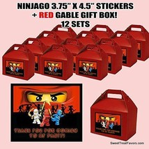 Ninjago Party Favor Boxes with Thank you Decals Stickers Loots Red Party 12PC NW - $25.69