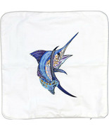 Embroidered Cushion Pillow Cover Marine Art Throw Pillow Blue Marlin - $19.95