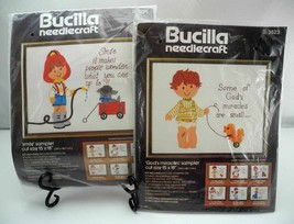 Vintage Bucilla Needlecraft God's Miracles & Smile Sampler Crewel Kits 3523/3525 - $23.70