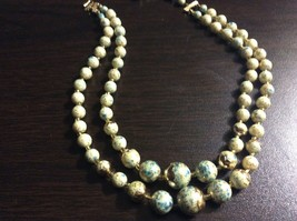"Vintage Womans Beaded Blue Gold White speckled 14"" Neclace - $18.00"