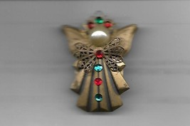 Ten Thousand Angels Brooch Pin 1997 York Nebraska w/ faux Pearl and Stones Bow - $12.38