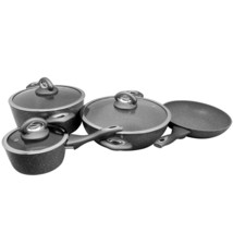 Oster Caswell 7 Piece Aluminum Cookware Set in Grey Marble - $112.93