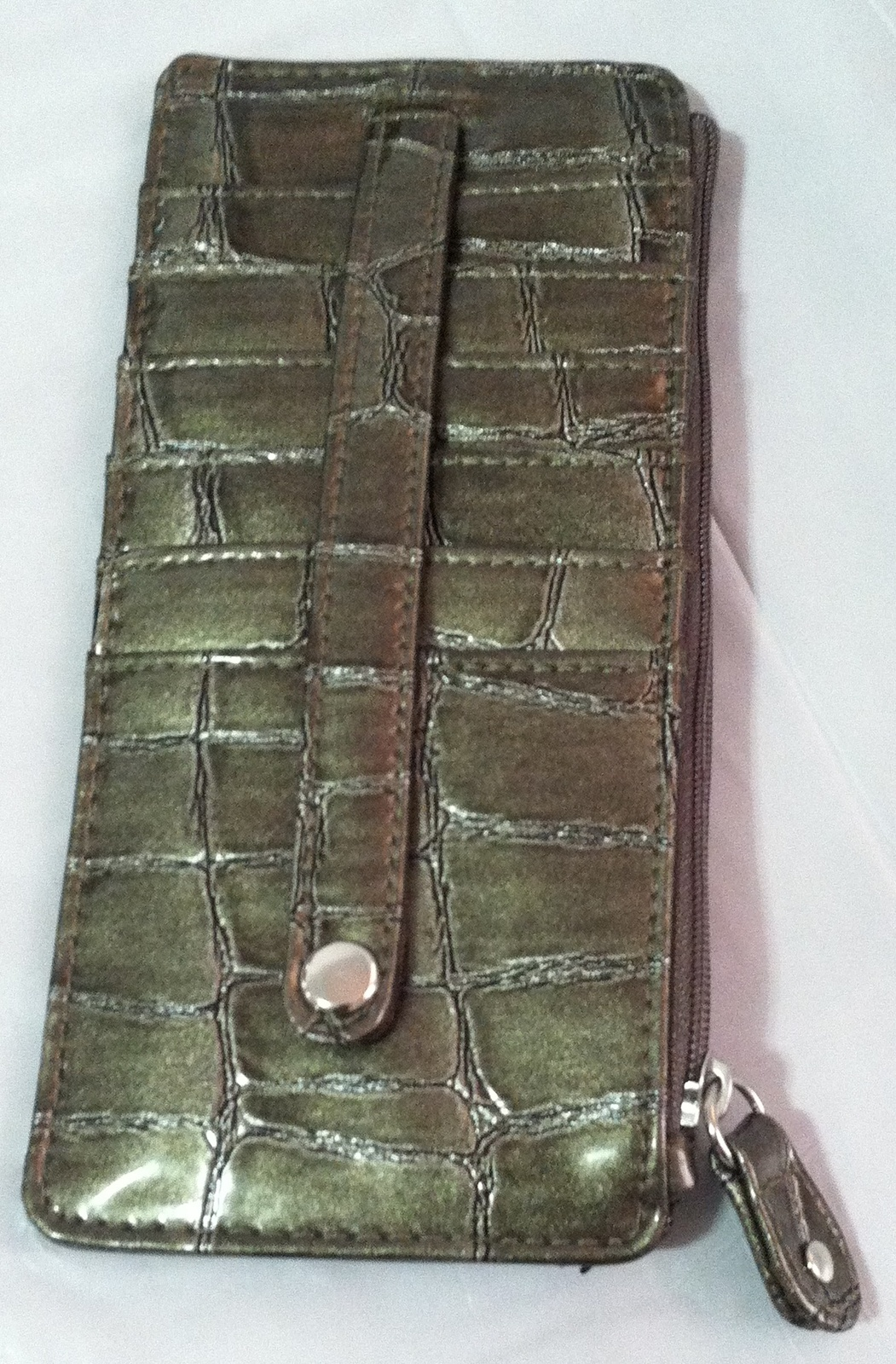Rolfs Ladies Soft Leather Tab Zip Around Organizer Attaché Black Blue Wallet
