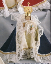 Infant Jesus of Prague: 18 inch Statue with Blue Velvet Gowned - $315.95