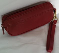 ROLFS RED ZIP-AROUND COIN PURSE WITH WRISTLET LEATHER - $12.99