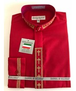 Daniel Ellissa Red/Gold Cross Christian Clergy Dress Shirt Banded Collar... - $28.49+