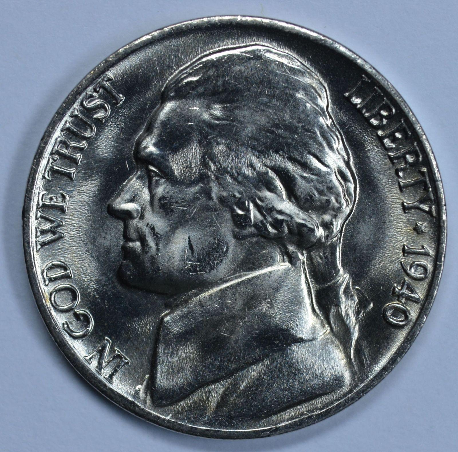 1940 P Jefferson uncirculated nickel BU 5 full steps - $11.50