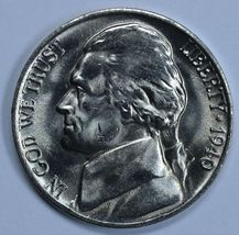 1940 P Jefferson uncirculated nickel BU 5 full steps - $11.50