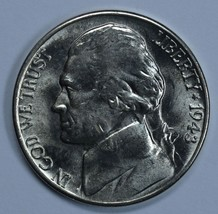 1943 D Jefferson uncirculated silver nickel BU  5 Full steps - $18.00