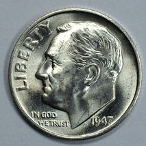 1947 S Roosevelt uncirculated silver dime BU  Full Bands - $18.00