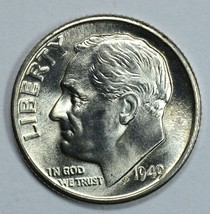 1949 D Roosevelt uncirculated silver dime BU  Full Bands - $23.00
