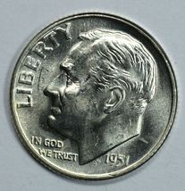1951 D Roosevelt uncirculated silver dime BU  Full Bands - $16.00