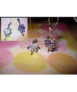 Floral Rhinestone Pendant Necklace (Clear Gem) - $5.00