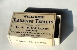 1910 antique WILLIAMS' LAXATIVE TABLET BOX baltimore md QUACK MEDICINE,P... - $28.95
