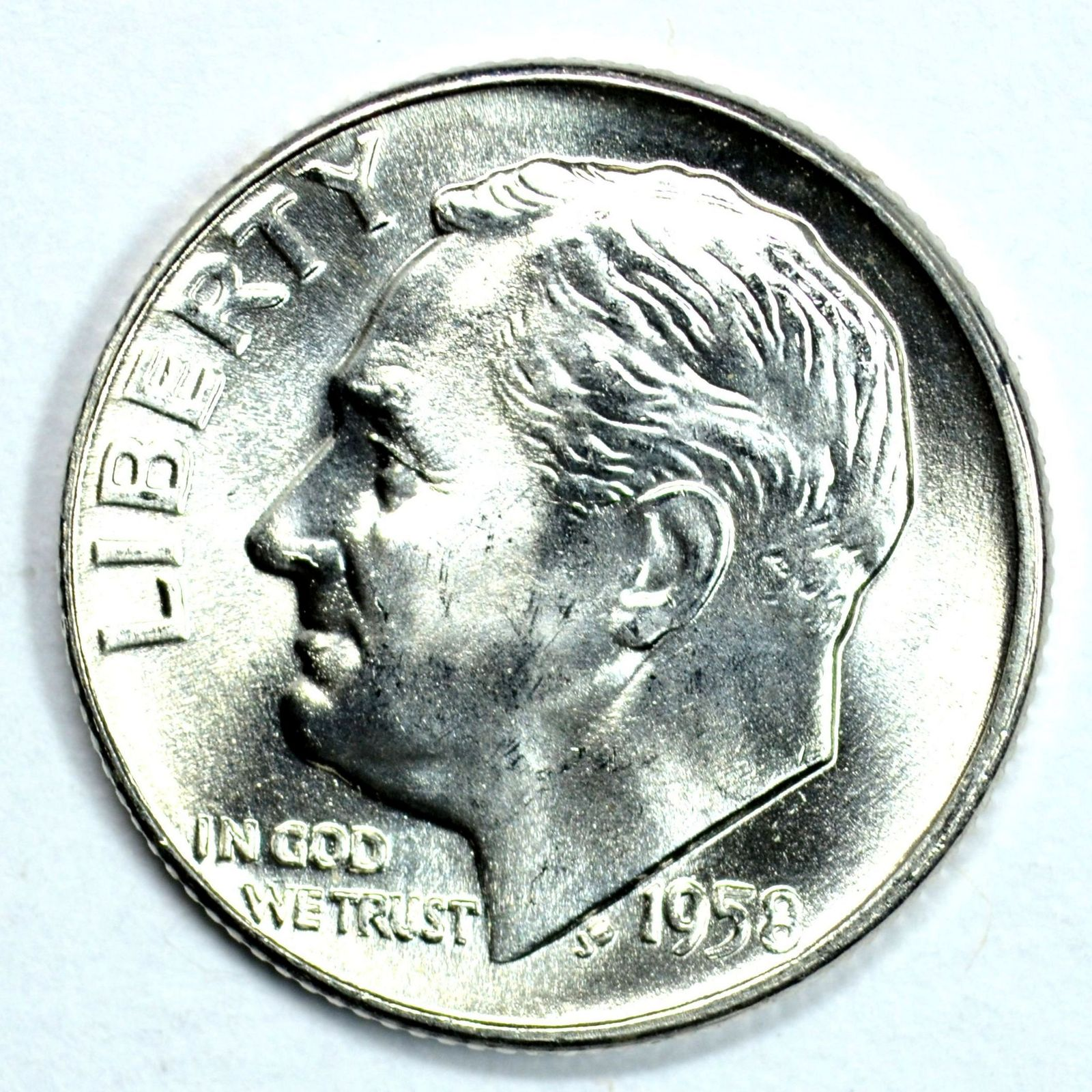 Primary image for 1958 D Roosevelt uncirculated silver dime BU