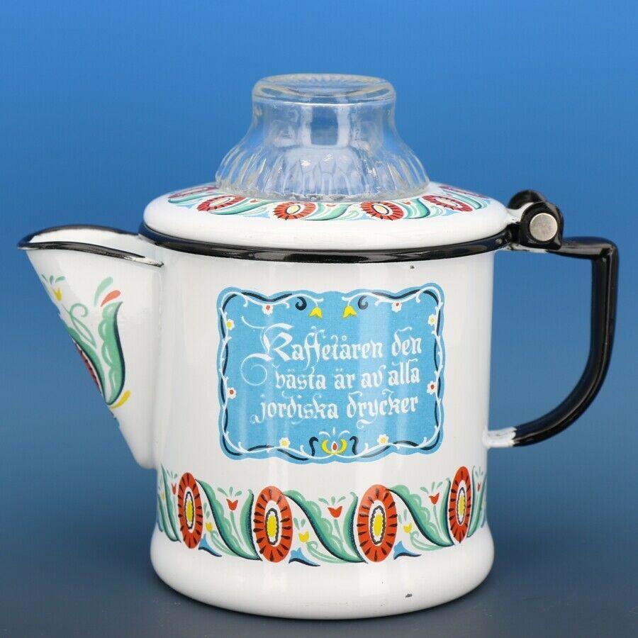 "Vintage Berggren Sweden Porcelain Enamelware Coffee Pot Percolator 6"" 2 Cup"