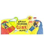 Hand Carved Wooden GREAT MINDS CLINK ALIKE Cocktails Parrot Drinking BEACH Sign - $24.74