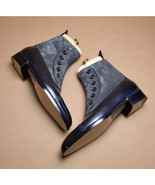 Goodyear Welted Leather Suede Boot, Men's Black Gray Button Top Ankle Boots - $149.99+