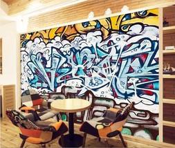3D Blau-Weiß-Graffiti 040 Fototapeten Wandbild Fototapete BildTapete FamilieDE - $52.21+