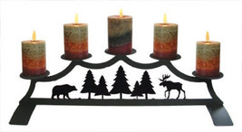 Wrought Iron Fireplace Pillar Candle Holder Moose & Bear Holds 5 Hearth ... - $88.99