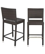 Outdoor Wicker Rattan Barstool Brown Patio All Weather Garden Chairs Sta... - $135.99