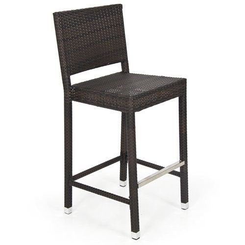 Outdoor Wicker Rattan Barstool Brown Patio All Weather Garden Chairs Stackable