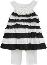 Isobella & Chloe Girls Sz 2T Black White Top Leggings Sleeveless Ruffle ... - $23.50