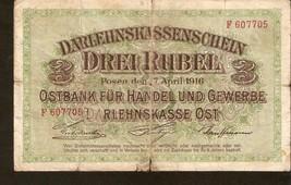 DE. Germany Darlehnskasse Ost Posen 3 Rubles Rubel 1916 - Ser. F 607705 WWI - $18.56