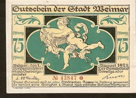 Not3. Germany Notgeld d. Stadt Weimar 75 Pfennig 1921 No. 43847 - Cupid ... - $6.00