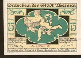 Not3. Germany Notgeld d. Stadt Weimar 75 Pfennig 1921 No. 43847 - Cupid angel - $6.00