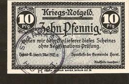 Germany - Kriegs Notgeld - Gemeinde Horst - 10 Pfennig 1917 - $4.00