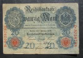 noT. Germany 20 Mark 1908 - Ser. D 5028788 - 7 digit serial # - $6.00