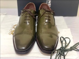 Handmade Men's Green Leather Lace Up Dress/Formal Oxford Shoes image 2