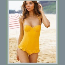 Full Body Ruffle Skirted Monokini with Underwire Bra and Re-move-able Strap