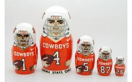 "Oklahoma state cowboys nesting doll matryoshka babushka doll 5 pc, 6"" - $59.90"