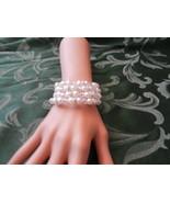 New Memory Wire Cuff Bracelet ~ Faux Pearl Beads Rhinestones Multi Stran... - $4.99