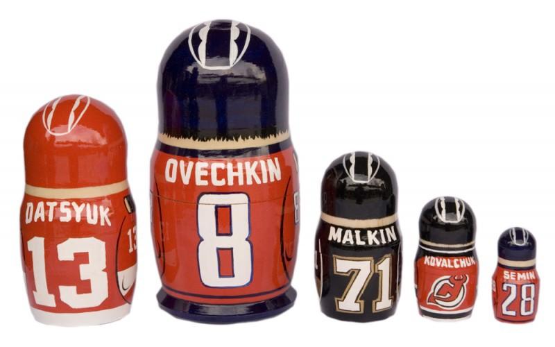 """Russian stars Washington Capitals matryoshka nesting dolls babushka doll 5pc, 6"""" image 2"""