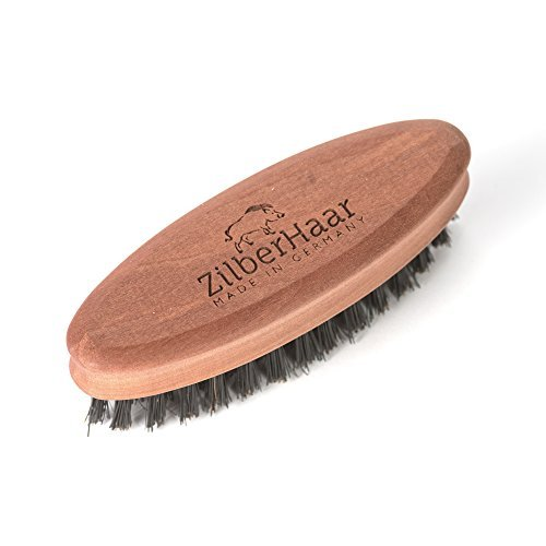 ZilberHaar Soft Pocket Beard Brush – 100% Boar Bristles with Firm Natural Hair –
