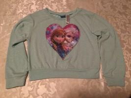 Girls-Size 7/8-Disney-top/sweater-Frozen-aqua metallic-Christmas/Holiday - $10.95