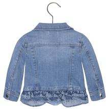 Mayoral Baby Girls Tier Ruffle Hem Denim Jean Jacket image 2