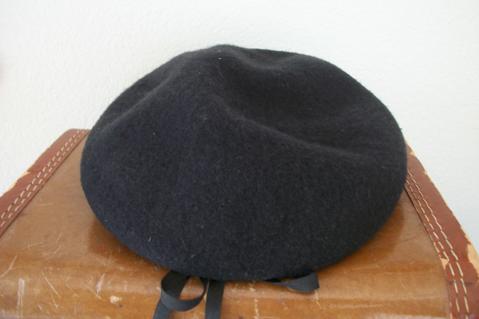 Vintage 1960s Sailor Inspired Black Wool Cap Hat made by United Hat