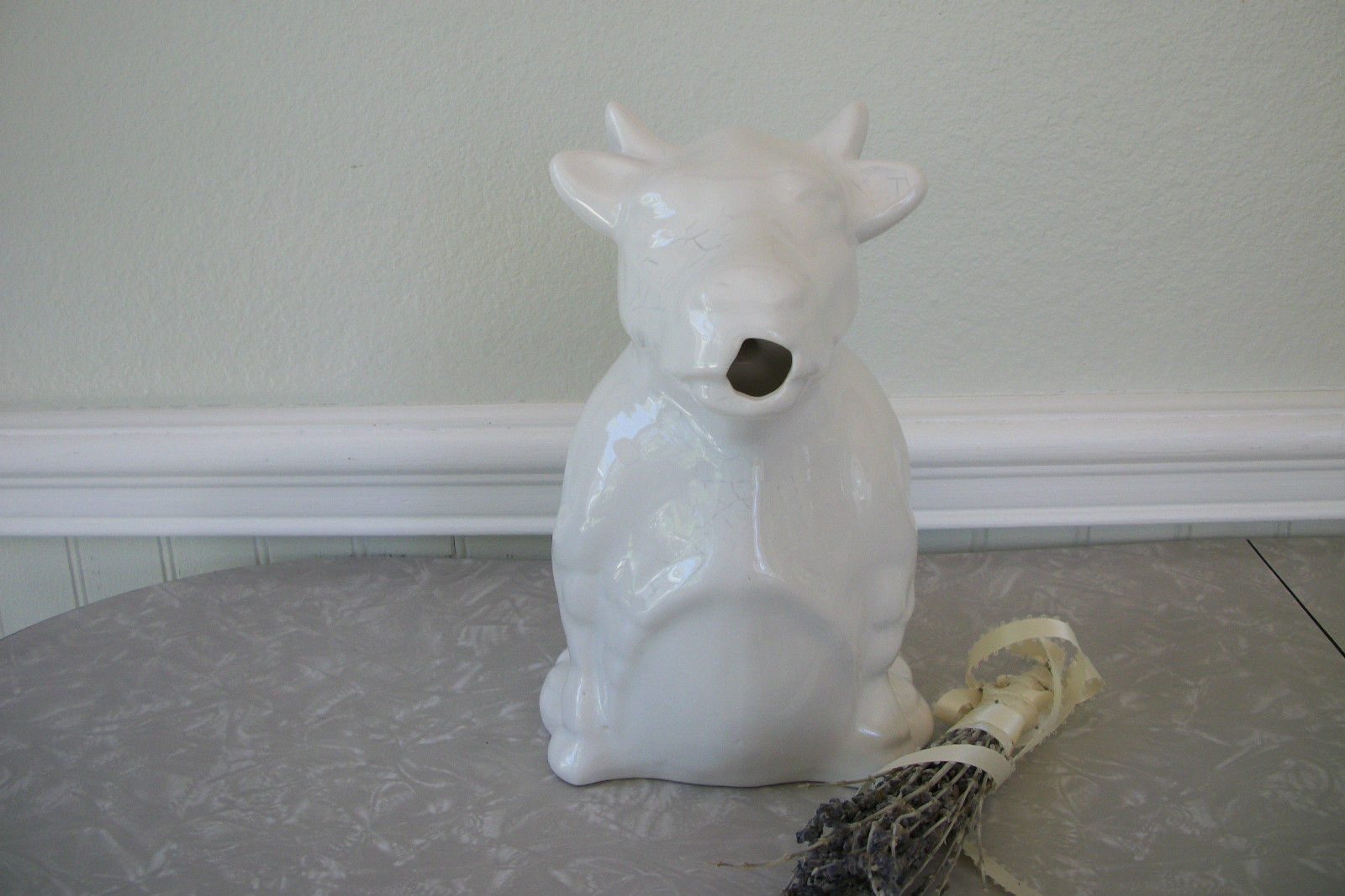 Primary image for White Ceramic Bull Pitcher French Farmhouse Milk Water Porcelain Jug