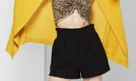Wild Fable Women's Pull-On High-rise Paper Bag Waist Black Shorts Size M - $16.82