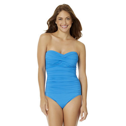 NEW Anne Cole Live in Color Sky Blue Twist Front One piece Swimsuit size 6 - $49.49